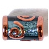 Glass Lamp Bead 16x8mm Tubes Montana/Silver Foiled/Bronze